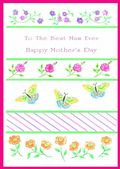 Mother's Day Card-Flowers And Butterflies Card
